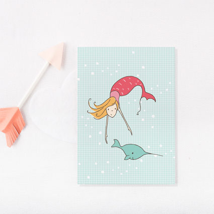 Mermaid & narwal card