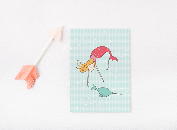 Mermaid & narwal card