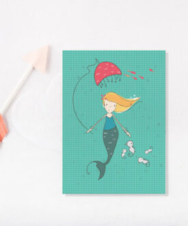 mermaid & umbrella card